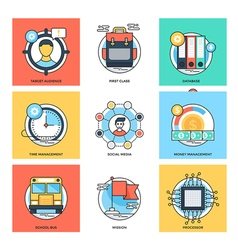 Flat color line design concepts icons 27 vector