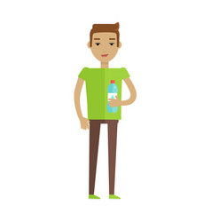 Drinking clean water flat style concept vector