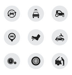 Set of 9 editable car icons includes symbols such vector