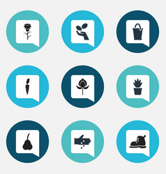 Set of 9 editable farm icons includes symbols vector