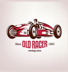 Retro race car vintage symbol emblem label vector