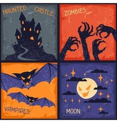 Happy Halloween grungy retro backgrounds vector image