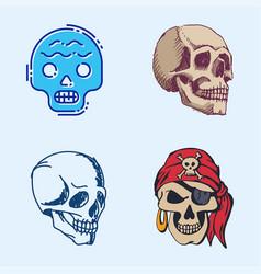 Different style skulls faces halloween horror vector