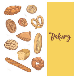 Fresh bread hand drawn bakery design with buns vector