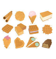 Different wafer cookies waffle cakes pastry cookie vector