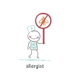 Allergist holds a sign prohibiting insects vector