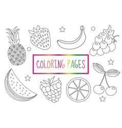 coloring book page fruit set sketch doodle vector image