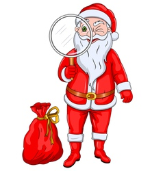 Santa claus with magnify glass vector