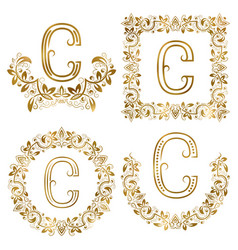 Golden c letter ornamental monograms set heraldic vector