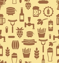 Seamless pattern with icons of beers and snacks vector