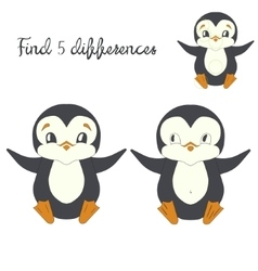 Find differences kids layout for game penguin vector