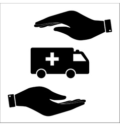 Ambulance in hand icon vector