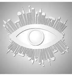 Abstract background with eye and buildings vector