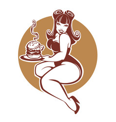 Beauty plus size pinup girl with gigantic tasty vector