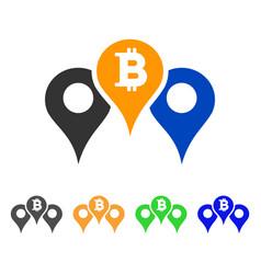 Bitcoin map pointers icon vector