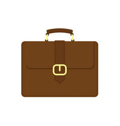 Brown business suitcase icon vector