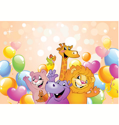 Cartoon animals cheerful background vector