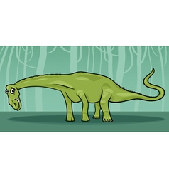 cartoon of diplodocus dinosaur vector image vector image