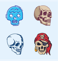different style skulls faces halloween horror vector image