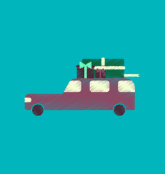 flat shading style icon car gifts vector image