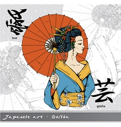Geisha with kanji vector