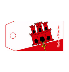gibraltar flag on price tag with word made in vector image vector image