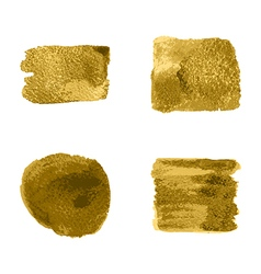 Gold paint smear stroke stain set on white vector