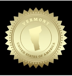 Gold star label vermont vector