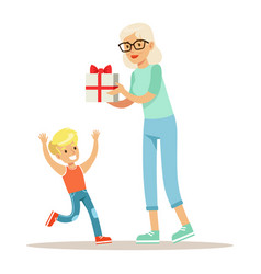 grandmother giving present to boy part of vector image