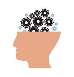 Human head gear wheels cog vector