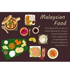 Malaysian cuisine dishes and desserts vector image vector image