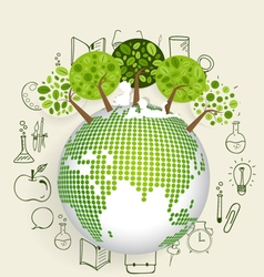 Modern globe with trees and application icon vector