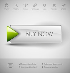Modern plastic button buy now vector