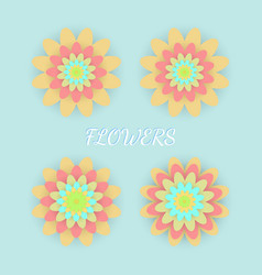 paper colored flowers set vector image vector image