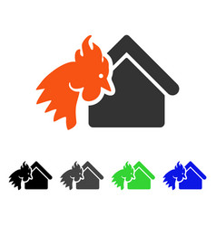 Red rooster realty disaster flat icon vector