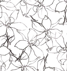Seamless pattern with Pencil flowers sketch vector image