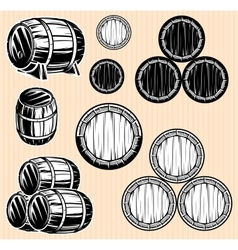 set monochromatic patterns with barrels for vector image
