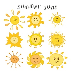 Set of cute summer suns Hand drawn smiley suns vector image