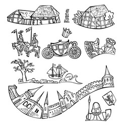 Set of fairytale decorative elements isolated vector