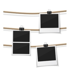 Set of photo hanged on rope realistic vector