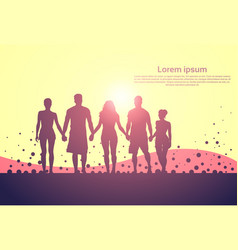 Silhouette people group stand holding hands man vector