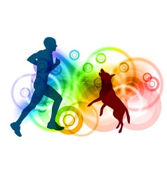 silhouettes of man and dog vector image vector image