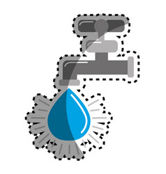 sticker faucet with drop of water icon vector image