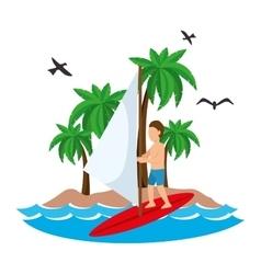 Surfing man waves beach tropical vector