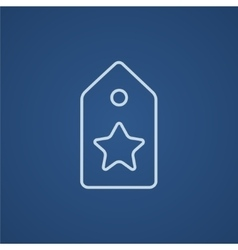Tag with star line icon vector image vector image