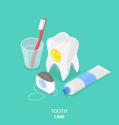 Tooth care flat isometric vector