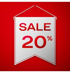 Grey pennant with inscription sale twenty percent vector image