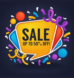 Sale banner looks like a bright glossy speech vector