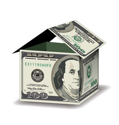 a house made out of 100 dollar bills vector image