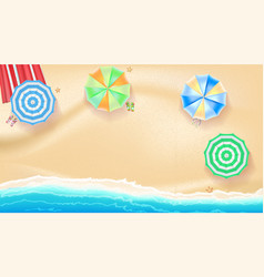 Set of colorful beach umbrellas on the background vector